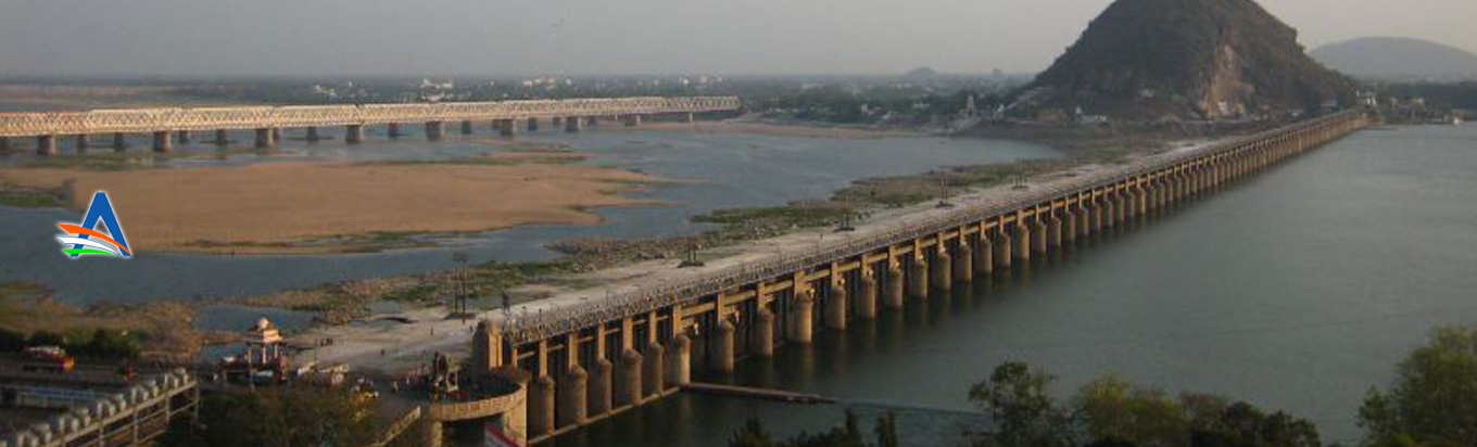 Witness the massive Prakasam Barrage stretching from Krishna to Guntur